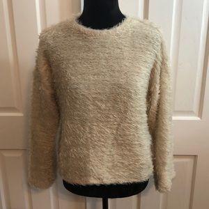 Zara Fluffy Fringed Pullover Sweatshirt